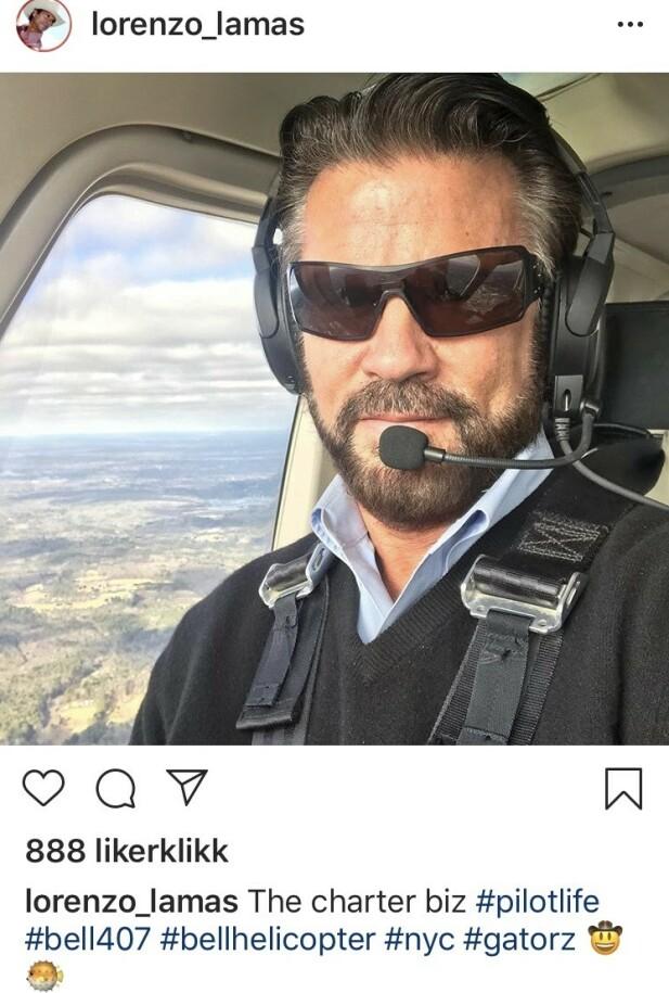 FLERE BEN Å STÅ PÅ: Lorenzo Lamas på jobb - denne gang som helikopterpilot. FOTO: Skjermdump Instagram