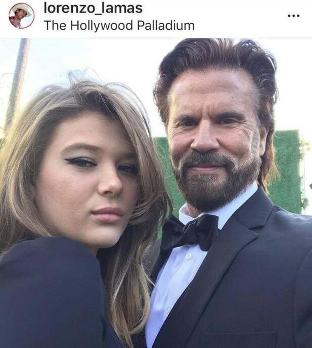 ELDET MED VERDIGHET: Lorenzo og datteren Victoria Lamas på Hollywood Palladium under Oscar-utdelingen. FOTO: Skjermdump Instagram
