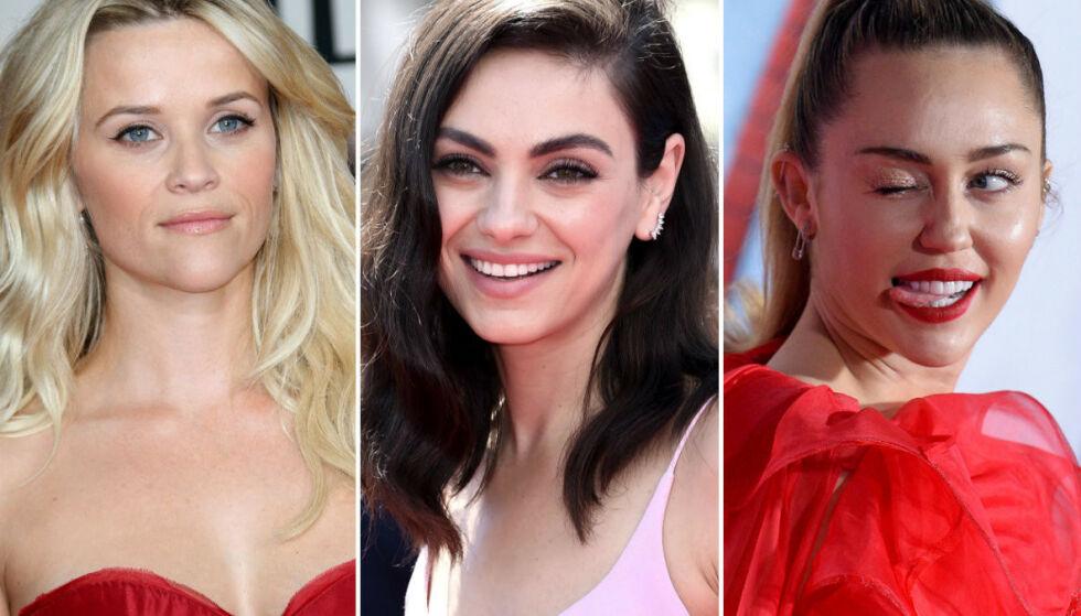 KJENTE FJES MED UKJENTE NAVN: Nei, de heter faktisk ikke Reese Witherspoon, Mila Kunis og Miley Cyrus. FOTO: NTB Scanpix