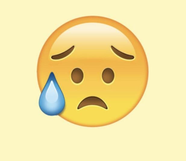 SKUFFET, MEN LETTET: Ved første øyekast kan dette se ut som en emoji som gråter, men den gang ei. I stedet er «tåren» en svettedråpe, og ikonet skal visstnok symbolisere at man er lettet, men skuffet – hva enn dét betyr. FOTO: Unicode