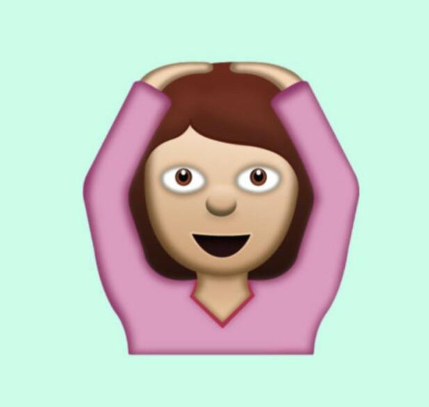 OK: Ikke en kvinne som danser ballet med hendene over hodet, men ifølge Unicode en kvinne som viser en gest som betyr OK. FOTO: Unicode