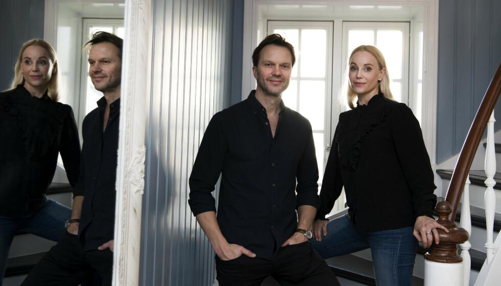 SERIESKAPEREN: Sofia Helin med manusforfatter og «Atlantic Crossing»-serieskaper Alexander Eik (Cinenord). FOTO: NRK