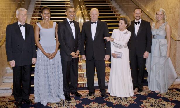 GOD TONE: Det er 10 år siden sist Michelle Obama gjestet Oslo. Da var også ektemannen Barack Obama her, i forbindelse med Nobels fredspris-utdelingen. Her fra en samling før Nobelkomiteens bankett på Grand Hotel. Barack Obama var for øvrig i Norge i september 2018 i Nobelkomiteens bankett på Oslo Business Forum-konferansen for næringslivsledere. FOTO: NTB Scanpix