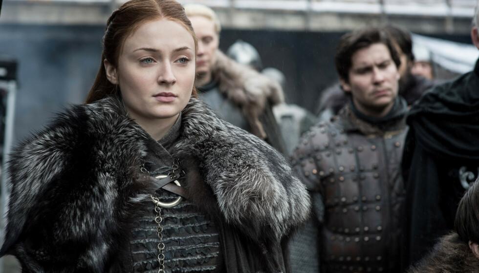 SANSA STARK: En av mine favorittkarakterer - fordi hun har gått gjennom en ekstrem utvikling, og nå er blitt en dame med skikkelig tæl. Sansa Stark er spilt av Sophie Turner. FOTO: HBO