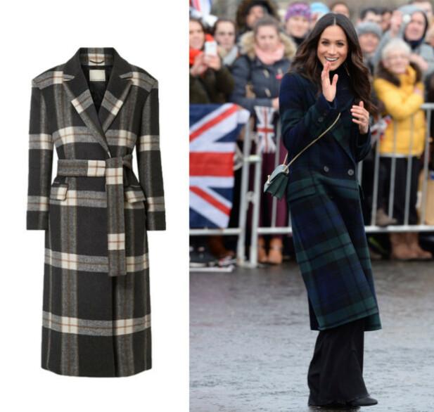 KÅPEN: Kåpen Markle bærer er fra Burberry, mens kåpen til venstre er fra By Malene Birger og koster kr 5900. FOTO: Scanpix og produsenten