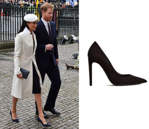 SVARTE PUMPS: Skoene til Meghan er fra Manolo Blahnik og koster nærmere 5000 kroner. Skoene til høyre er fra Mango og koster kr 999. FOTO: Scanpix og produsenten