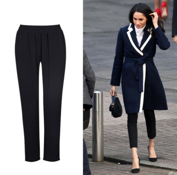 DRESSBUKSER: Det er nok ikke første gang du har sett Markle i disse buksene. Vi vet hun tidligere har brukt et par fra Alexander McQueen, men ønsker du et mer budsjettvennlig alternativ, kan du se på den fra Cubus (kr 249) til venstre. FOTO: Scanpix og produsenten