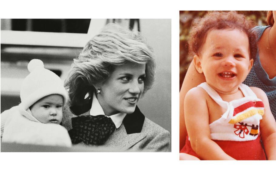 SJARMTROLL: Det er tre år som skiller prins Harry og kona hertuginne Kate. Her er Harry fotografert på mamma Dianas armkrok i 1985. Bildet av Meghan er tatt rundt samme tid. FOTO: NTB Scanpix