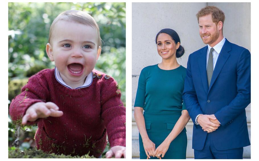 SØT HYLLEST TIL NEVØEN: 23. april 2019 fylte prins Louis av Storbritannia ett år, og på sosiale medier strømmer gratulasjonene til - også tante hertuginne Meghan og onkel prins Harry har sendt sine lykkeønskninger til den skjønne gutten. FOTO: NTB Scanpix