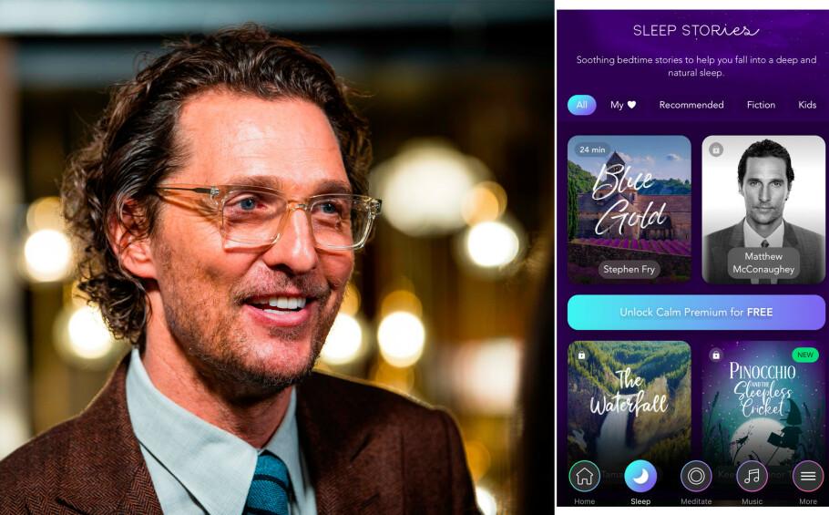 SØVN: Det lanseres nye søvnapper hele tiden - vi har listet opp noen som er anbefalt! Hva med å sovne til Matthew McConaughey sin stemme hver kveld? FOTO: NTB scanpix/skjermdump Calm