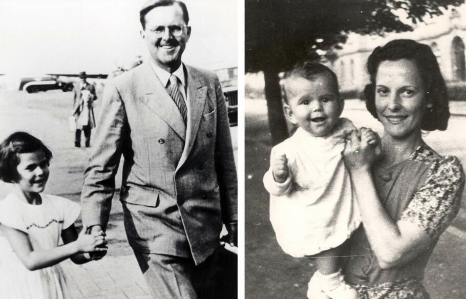 SILVIAS BARNDOM: Lille Silvia Sommerlath fotografert med foreldrene Walther Sommerlath og Alice Sommerlath. Bildet av mor og datter er tatt i Heidelberg i Tyskland i 1944. Bildet med far og datter er tatt noen år senere. Dato og sted er ukjent. FOTO: NTB Scanpix