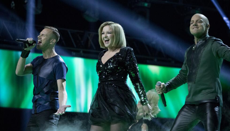 PANGSHOW: Når KeiiNO står på scenen i Tel Aviv 16. mai, er det med et helt nytt sceneshow. Her fra den norske finalen i Spektrum. FOTO: Julia Marie Naglestad/NRK