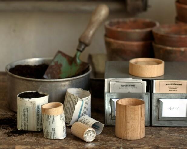 Mangler du små potter til forspiring, kan du lage noen av gamle aviser.