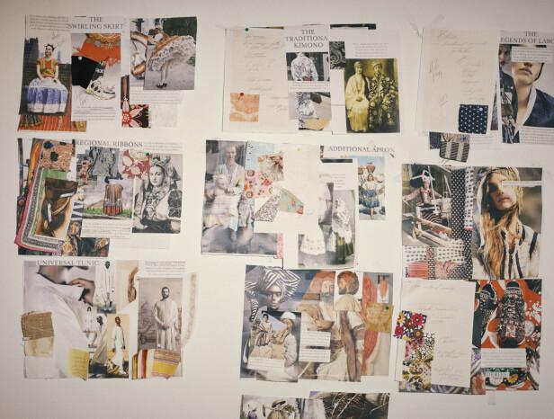 INSPIRASJON: Nede i kjelleren, hvor kolleksjonene blir laget, henger en vegg full med inspirasjon. Foto: Ole Martin Halvorsen