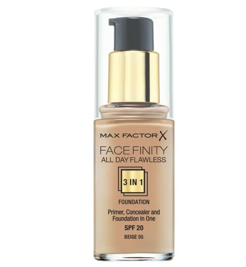 Facefinity All Day Flawless 3 in1 Foundation: primer, concealer og foundation i ett. En longlasting foundation som har full kontroll på oljene i huden. Medium til høy dekkevne.
