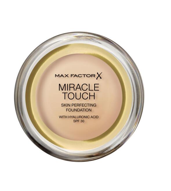 Miracle Touch Foundation: Beriket med hylauronsyre og beskytter huden med SPF 30. Kommer med en svamp for enkel påføring og føles lett og behagelig på huden.