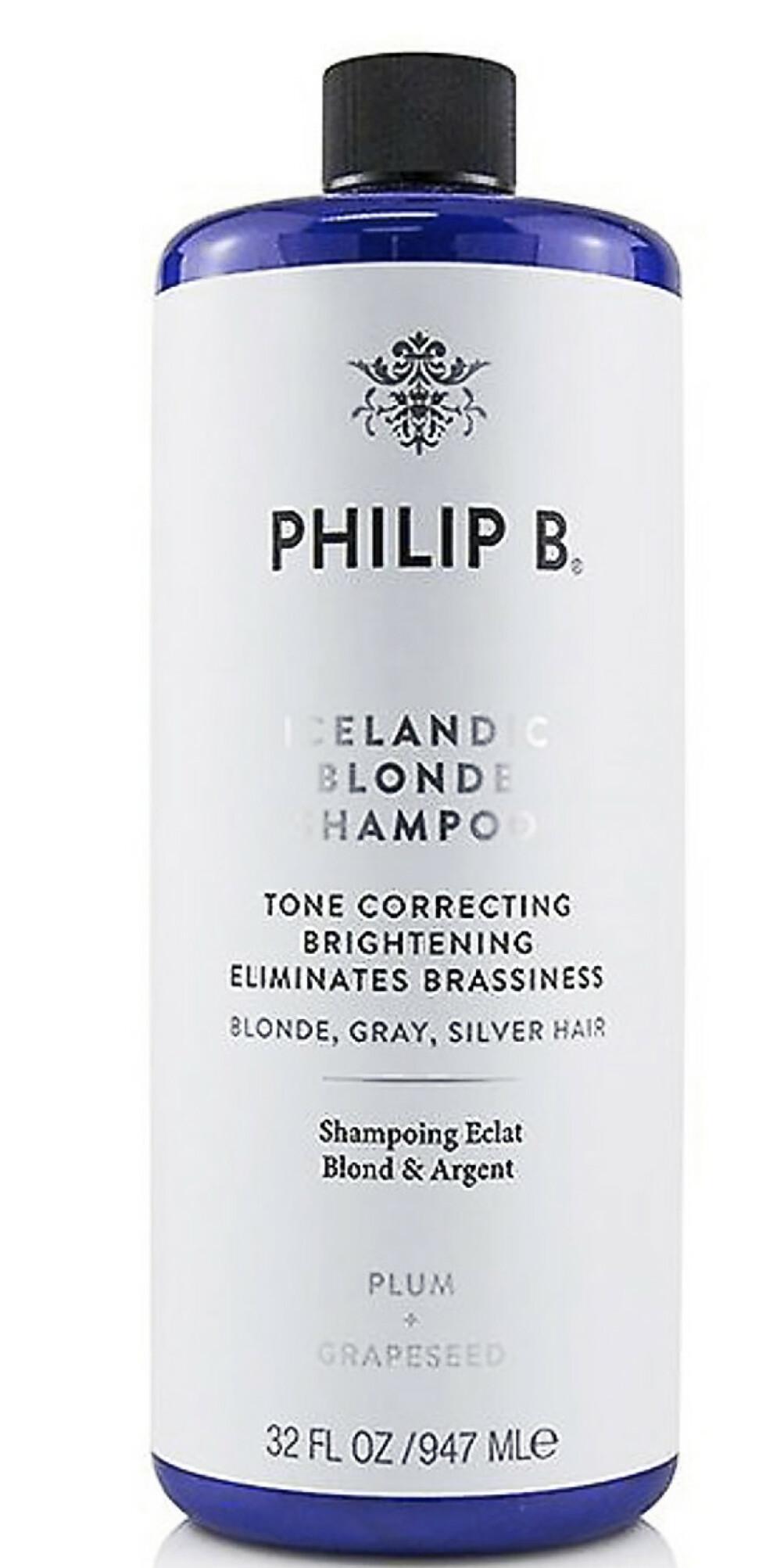 Blåsjampo for å fjerne gulstikk og gjøre fargen kald. Stor flaske (kr 1250, Philip B, Icelandic Blonde).