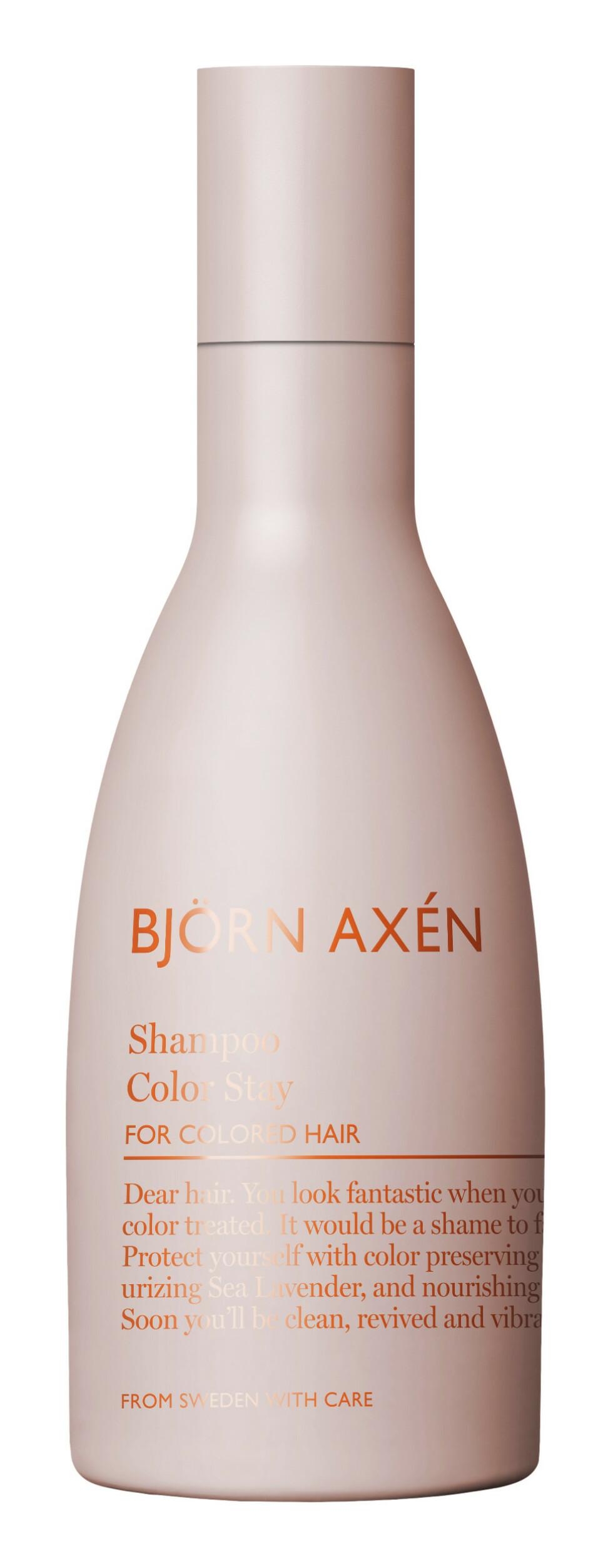 Fargebevarende sjampo mens håret vokser ut (kr 125, Björn Axén, Color Stay Shampoo).