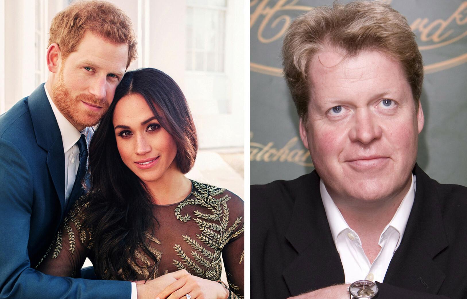 NYTT FAMILIEMEDLEM: Charles Spencer, prins Harrys onkel, jubler over å ha fått et nytt familiemedlem - som også er tyr, slik han selv er. FOTO: NTB Scanpix