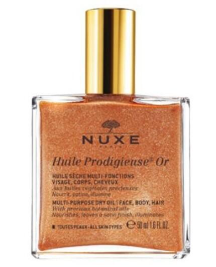 Tørrolje | Nuxe | https://www.apotek1.no/produkter/nuxe-huile-prodigieuse-torrolje-med-gullshimmer-50ml-823695p