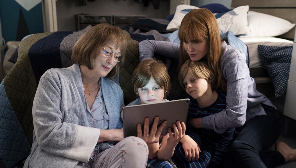 BESØK AV SVIGERMOR: Svigermor Mary Jane (Meryl Streep) begynner raskt å ane at ulykken der sønnen Perry døde, kanskje ikke var så uskyldig likevel. FOTO: HBO