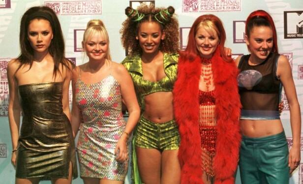 SPICE GIRLS: Spice Girls-jentene i 1997. Fra venstre: Victoria Beckham, Emma Bunton, Melanie Brown, Geri Horner og Melanie Chisholm. Foto: NTB Scanpix