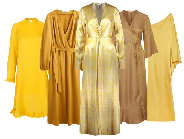<strong>Fra venstre:</strong> kjole fra Mads Nørgaard via Boozt.com, kr 2380. Kjole fra Mango, kr 800. Kjole fra Ganni, kr 3999. Kjole fra Gestuz, kr 2800. Kjole fra Stylein, kr 2499.