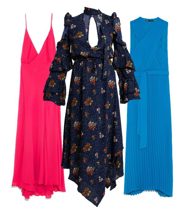 Rosa kjole fra Zara, kr 1200. Kjole med mønster fra Honey Punch via Zalando.no, kr 679. Blå kjole fra Zara, kr 800.