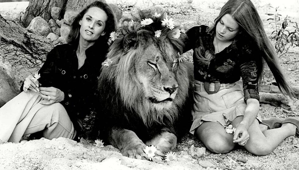 DU OG JEG, NEIL ...: Tippi Hedren og Melanie Griffith sammen med løven Neil, som bodde hos dem da Melanie var tenåring. FOTO: NTBScanpix