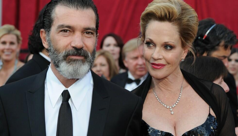 <strong>MOT SLUTTEN:</strong> Antonio Banderas og Melanie Griffith, mens de fortsatt var gift. Ekteskapet tok slutt i 2015. FOTO: NTBScanpix