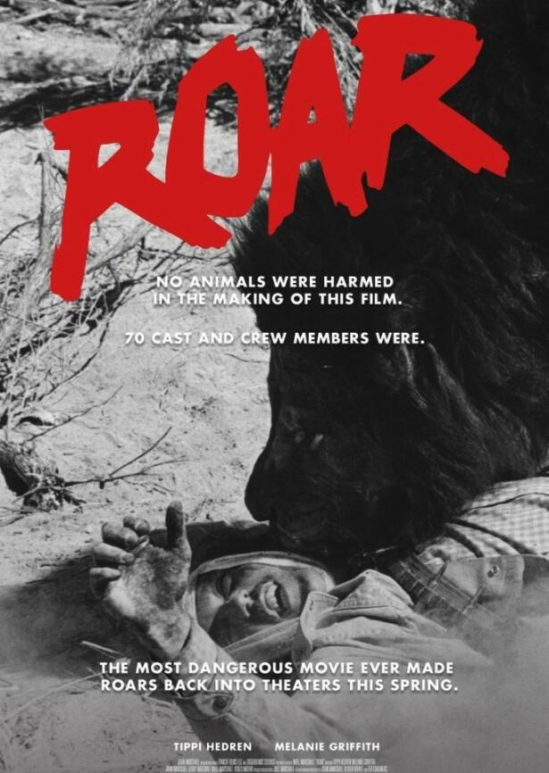 <strong>FLOPP:</strong> Filmen «Roar» kostet mye å lage og spilte inn bare en brøkdel. Ikke lenge etter skilte Tippi og Noel seg. FOTO: Skjemdump filmplakat.