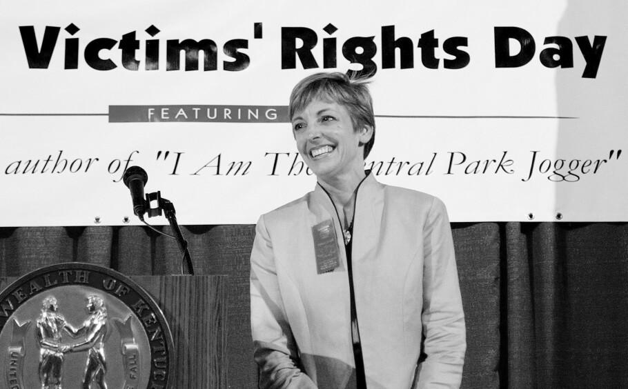 VOLDSOFFER: Da den amerikanske bankinvestoren Trisha Ellen Meili var 28 år ble hun overfalt og voldtatt mens hun var på joggetur i Central Park i New York. Det skulle gå 12 år før riktig mann ble tatt. Dette bildet er tatt i forbindelse med en boklansering i 2005. FOTO: NTB Scanpix