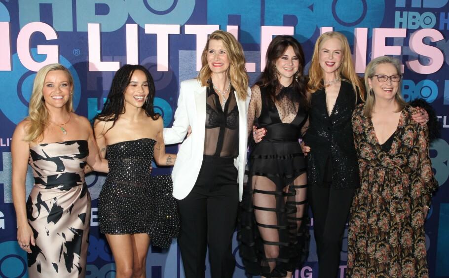 VENNER FOR LIVET: Reese Witherspoon, Zoe Kravitz, Laura Dern, Shailene Woodley, Nicole Kidman og Meryl Streep er blitt venninner for livet etter at de har spilt sammen i HBO-serien «Big Little Lies». Dette bildet er fra New York-premieren i slutten av mai. FOTO: NTB Scanpix