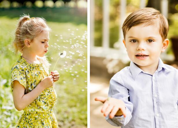 IDYLL: Prinsesse Estelle blåser løvetann, mens lillebror prins Oscar viser frem en larve. Bildene er tatt på Haga slott i juni 2019. FOTO: Linda Broström/Kungl. Hovstaterna