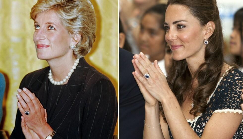 SYMBOLSK: Prins William ga Kate sin avdøde mors forlovelsesring, da han gikk ned på kne. FOTO: NTB Scanpix