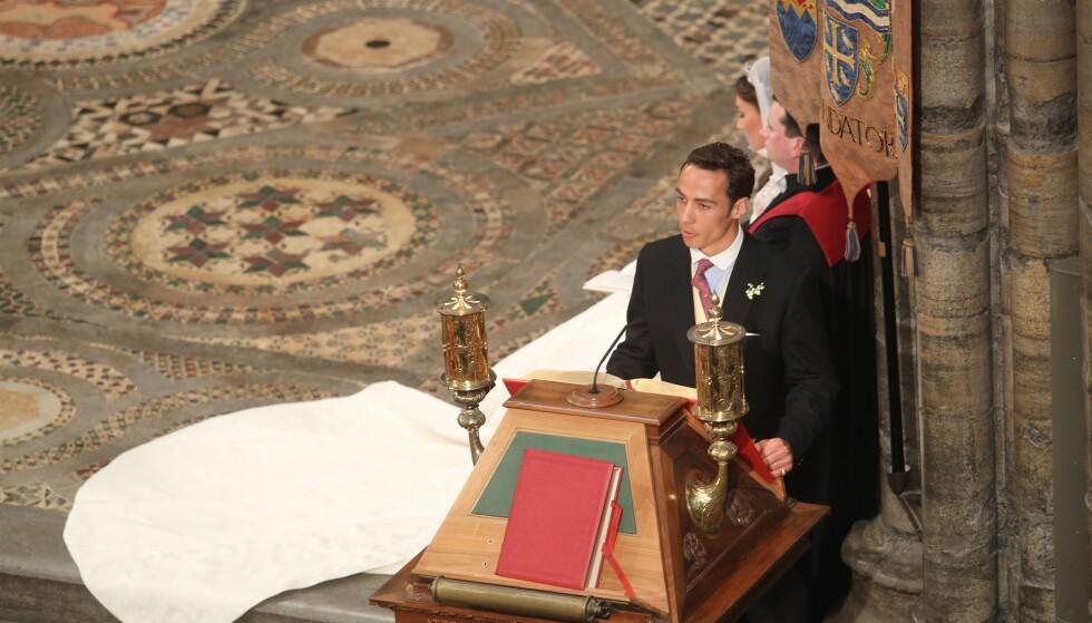<strong>LESTE I BRYLLUPET:</strong> James Middleton leste høyt i bryllupet til prins William og søsteren Kate i 2011. Det var her vi for alvor fikk øynene opp for hertuginnens lillebror. FOTO: NTB Scanpix