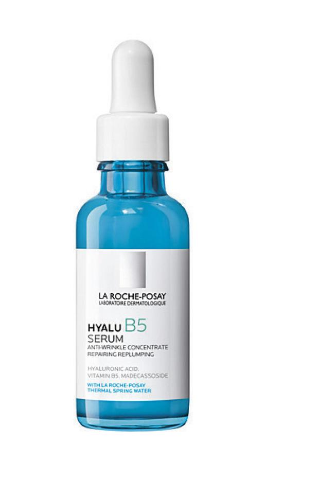 For fylde, glød og mykere linjer på sensitiv hud (kr 370, La Roche-Posay, Hyalu B5 Serum). FOTO: Produsenten
