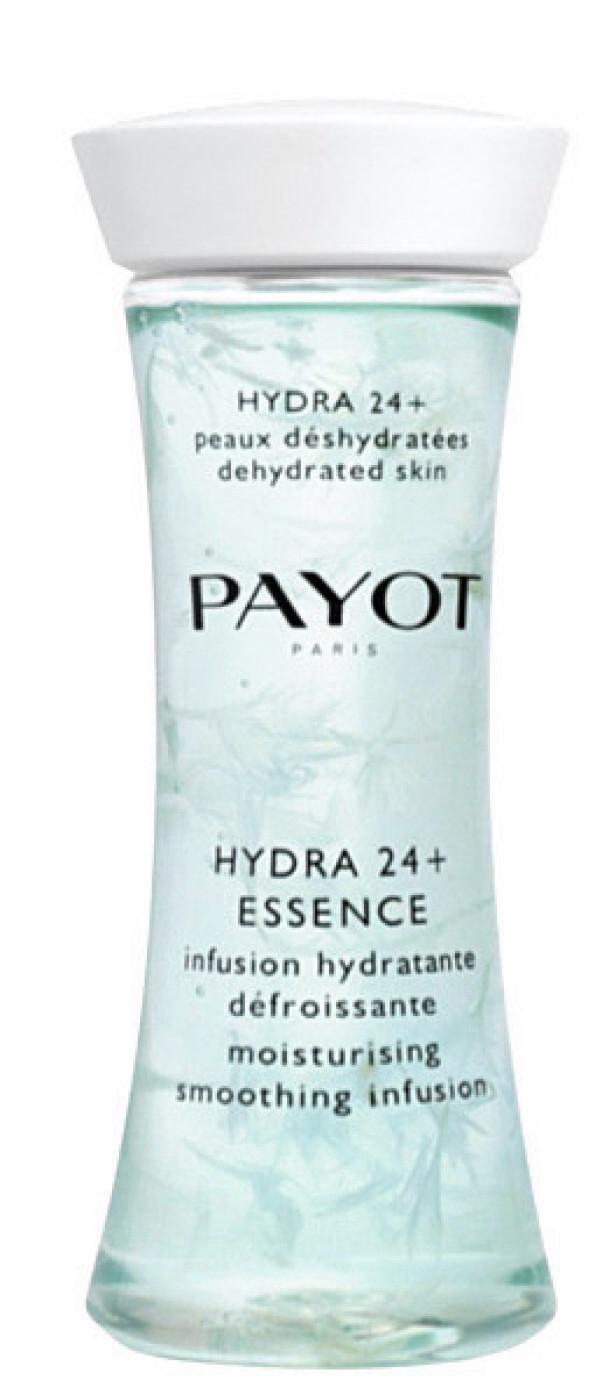 Fukter og roer ned huden med ringblomst, hyaluronsyre og røde alger (kr 230, Payot, Hydra 24 H Essence). FOTO: Produsenten
