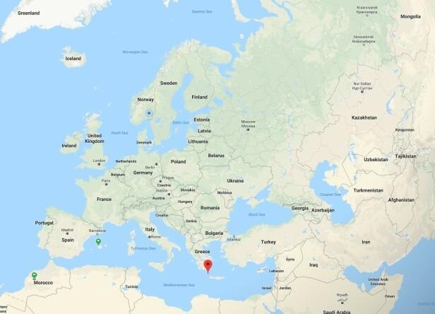 ANTIKYTHERA: Ser du det røde punktet på kartet? Der ligger øya Antikythera. Foto: Google Maps