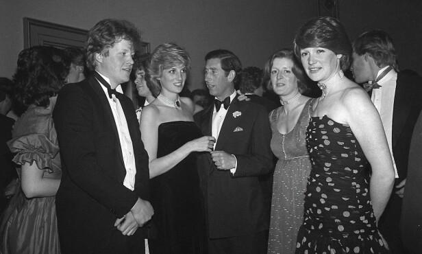 LYKKELIGE TIDER: Dette bildet av prinsesse Diana og prins Charles er tatt i 1985, i forbindelse med Dianas lillebror Charles Spencers 21-årsdag. Til høyre er Dianas storesøstre Lady Sarah McCorquodale og Lady Jane Fellowes. FOTO: NTB Scanpix