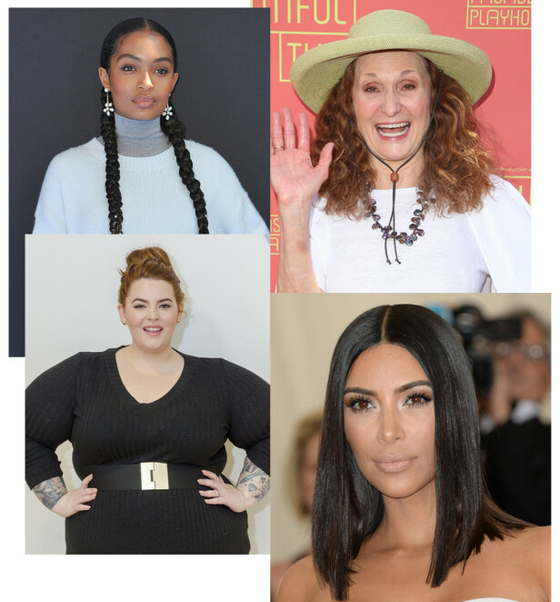 HYLLER KALING: Yara Shahidi, Beth Grant, Tess Holliday og Kim Kardashian. Foto: Scanpix