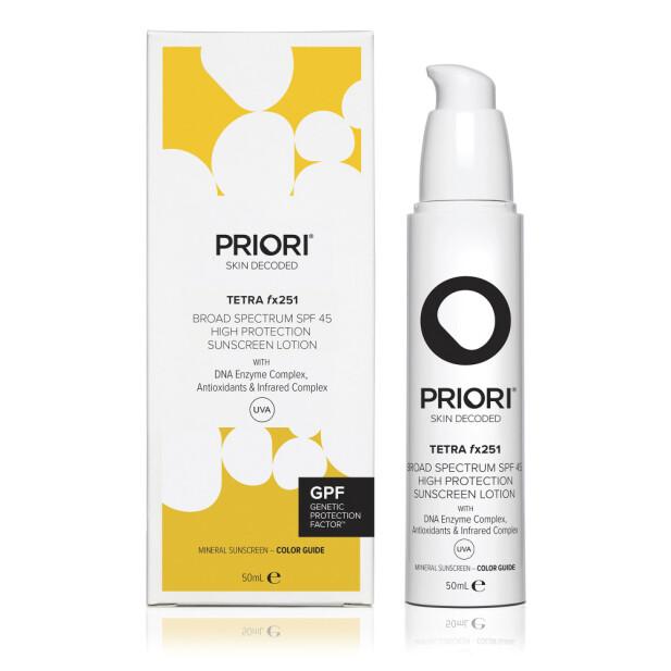 Beskytter mot varme og forurensning (kr 1000, Priori, Tetra fx251 Sunscreen Lotion, SPF 45).