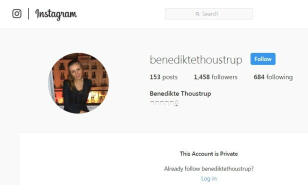LUKKET PROFIL: Den danske 20-åringen Benedikte Thoustrup er svært privat på sosiale medier, og har lukket sin Instagram-profil for offentligheten. FOTO: Skjermdump // Instagram