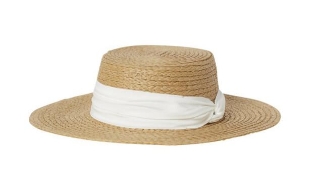 Stråhatt med hvitt bånd (kr 130, H&M). FOTO: Produsenten