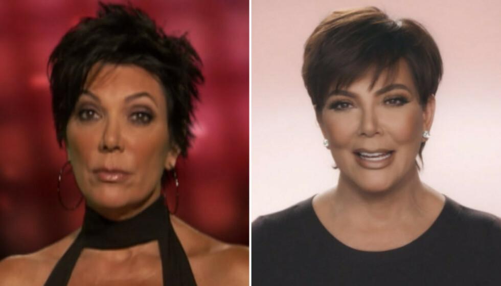 MOMAGER: Det er kanskje ikke så rart at Kris Jenner så eldre ut i første sesong enn i dag; hun har tross alt vært åpen om at hun har fikset en del på utseendet. FOTO: E! News