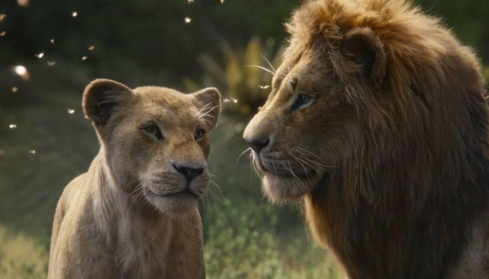 KLASSIKER: Beyoncé har stemmen til Nala (til venstre) i 2019-versjonen av «Løvenes Konge». Artist og skuespiller Donald Glover er Simba. FOTO: Disney