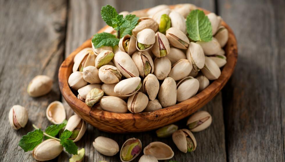 MYE ENERGI: I 100 gram pistasjnøtter er det 562 kalorier og 20 gram protein.