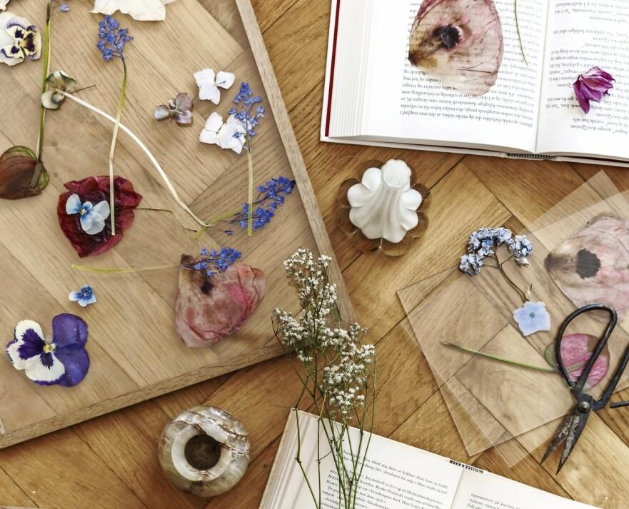 Den botaniske bølgen har pustet nytt liv i en av de gamle syslene: pressing av blomster. Legg dine yndlingsblomster i press i gamle bøker, og smør deg med tålmodighet i om lag 14 dager. Og så har du papirtynne blader du kan sette i rammer. Miks blomstertrykkene dine med fine plakater eller malerier. Rammen er fra Moebe. FOTO: Mikkel Dahlstrøm