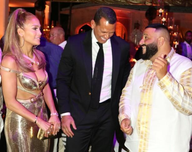 MED BURSDAGSBARNET: Jennifer Lopez, Alex Rodriguez og Dj Khaled. Foto: Scanpix
