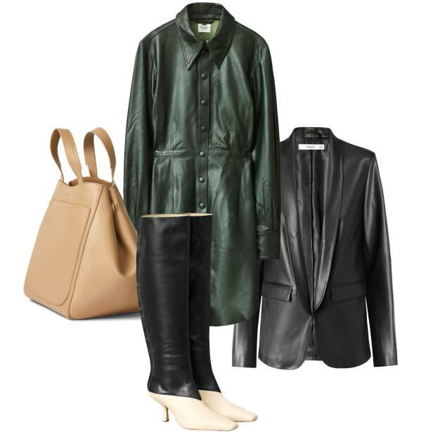 FÅ STILEN: Veske fra Filippa K, kr 4900. Skjortekjole fra H&M Studio, kr 2000. Støvletter fra H&M Studio, kr 1500. Blazer fra Mango, kr 500.